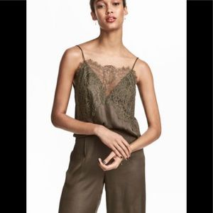 H&M  Camisole Top With Lace Khaki Green
